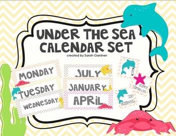Under The Sea Calendar Set {Orange, Yellow, Tan, Pink}