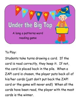 Under the Big Top: A ZAP game for long a patterns