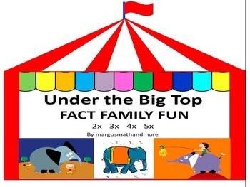 Preprinted/No Prep! Under the Big Top Fact Family Fun 2x 3x 4x 5x