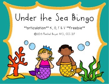 Under the Sea Bingo FREEBIE for /k/, /g/, /f/, & /v/