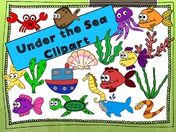 Under the Sea Clipart (Color and B&W outlines)
