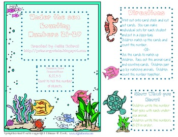 Under the Sea Counting:  Numbers 21-29