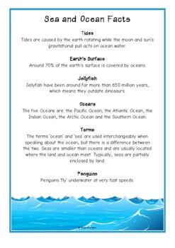 Ocean / Under the Sea Fact Cards