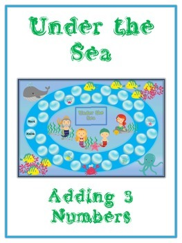 Under the Sea Math Folder Game - Common Core - Adding Thre