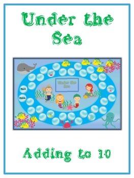 Under the Sea Math Folder Game - Common Core - Adding to 10