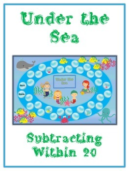 Under the Sea Math Folder Game - Common Core - Subtracting