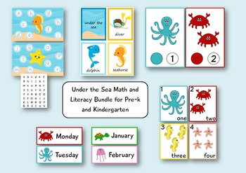 Under the Sea - Math and Literacy Bundle for Pre-k and Kin