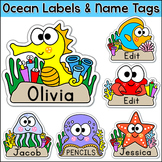 Ocean Theme Name Tags Labels - Under the Sea Theme