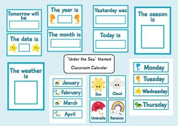 Under the Sea Themed Classroom Calendar for Pre-k and Kind
