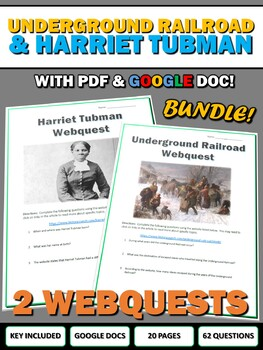 Underground Railroad and Harriet Tubman - Webquest with Ke