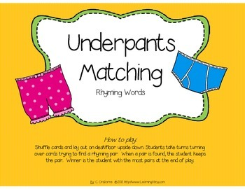 Underpants Matching: A Rhyming Game