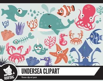 Undersea creatures clipart pack