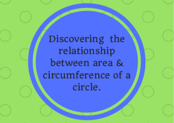 Understanding Area & Circumference & the meaning of the formulas