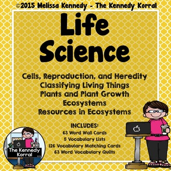 Life Science Vocabulary {Word Wall, Lists, Center Cards, V