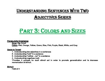 Understanding Sentences with Two Adjectives Series Part 3:
