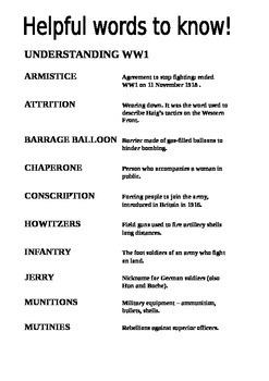 Understanding World War One Key Words