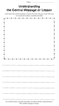 Understanding  the Central Message or Lesson Worksheet
