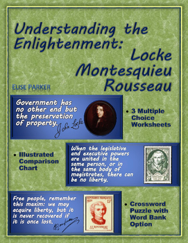 Enlightenment Worksheets and Puzzle: Locke, Montesquieu, Rousseau