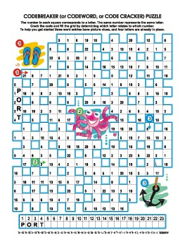 Underwater Codebreaker Word Puzzle, Illustrated, Commercia