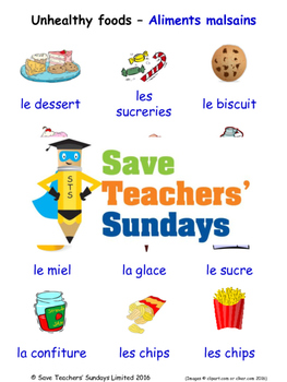 Unhealthy Foods in French Worksheets, Games, Activities an
