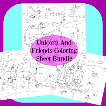 Unicorn And Friends Coloring Sheet Bundle