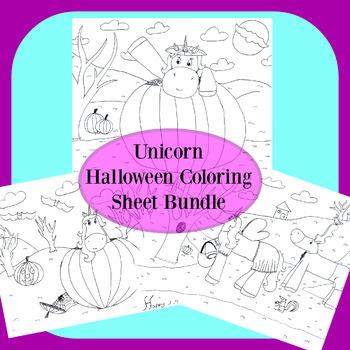 Unicorn Halloween Coloring Sheet Bundle
