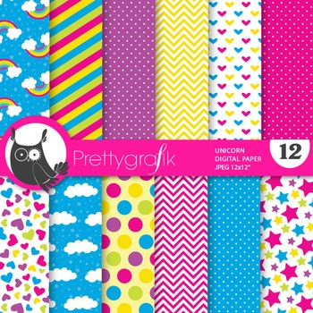 Unicorn papers, commercial use, scrapbook papers - PS735