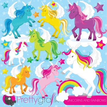 Unicorns and rainbows clipart commercial use, vector, digi