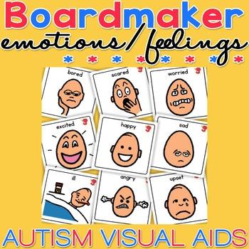 Unisex Emotion / Feelings Cards - Boardmaker / Autism / AD