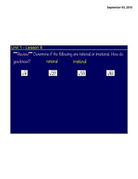 Unit 1-Common Core-8.NS.1 and 8.NS.2