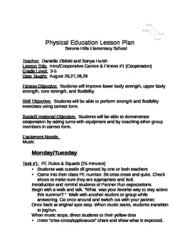 Unit 1 Cooperation #1 K-2 PE (Physical Educaiton)
