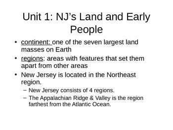 Unit 1 New Jersey Notes Harcourt Series