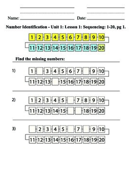 Unit 1: Missing Number Identification 1-20, fill in the bl