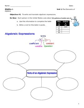 Unit 1 Obj.1: To Write and Translate Algebraic Expressions