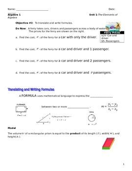 Unit 1 Obj.3: Translate and Write Formulas