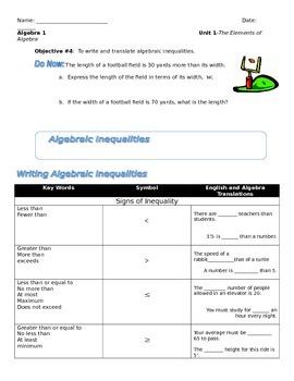 Unit 1 Obj4: Translating algebraic Inequalities