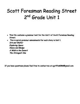 Unit 1 Scott Foresman Reading Street Grammar Assessments -