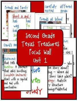 Focus Wall  Texas Treasures Unit 1 Second Grade