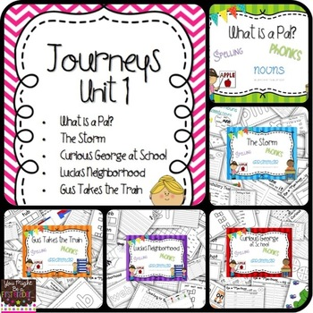 Unit 1 Stories 1-5 Journeys {spelling, grammar, and phonic