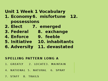 Unit 1 Vocabulary