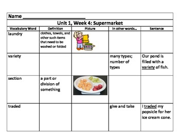 Unit 1 Vocabulary Charts for 3rd Grade Reading Street Comm