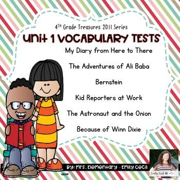 4th Grade Treasures Unit 1 Vocabulary Tests Bundle