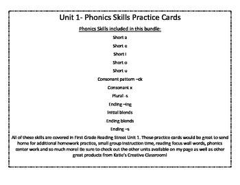 Unit 1 (Reading Street) Phonics Practice Word Cards