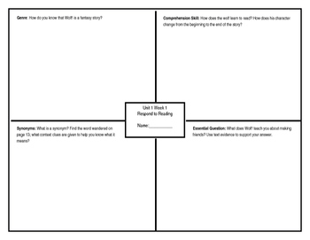 Unit 1 Week 1 Respond to Reading Graphic Organizer