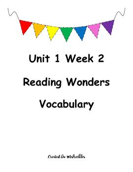 Unit 1 Week 2 Vocabulary Reading Wonders