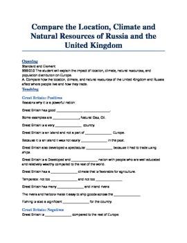 Unit 2: Lesson 2: Compare and Contrast Russia and the UK P