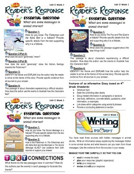 Unit 2 Week 1-Reader's Response 1 (4th Grade McGraw-Hill Wonders)