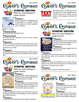 Unit 2 Week 1-Reader's Response (4th Grade McGraw-Hill Wonders)