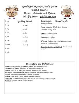 Unit 2 Week 1 Second Grade Wonders Reading Series Study Guide