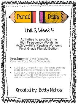 Reading Wonders Unit 2 Week 4 Pencil Pairs ***WITH 37 BONU